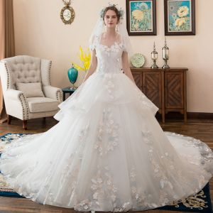 Affordable Ivory Wedding Dresses 2018 Ball Gown Off-The-Shoulder Short Sleeve Backless Lace Appliques Flower Ruffle Cathedral Train