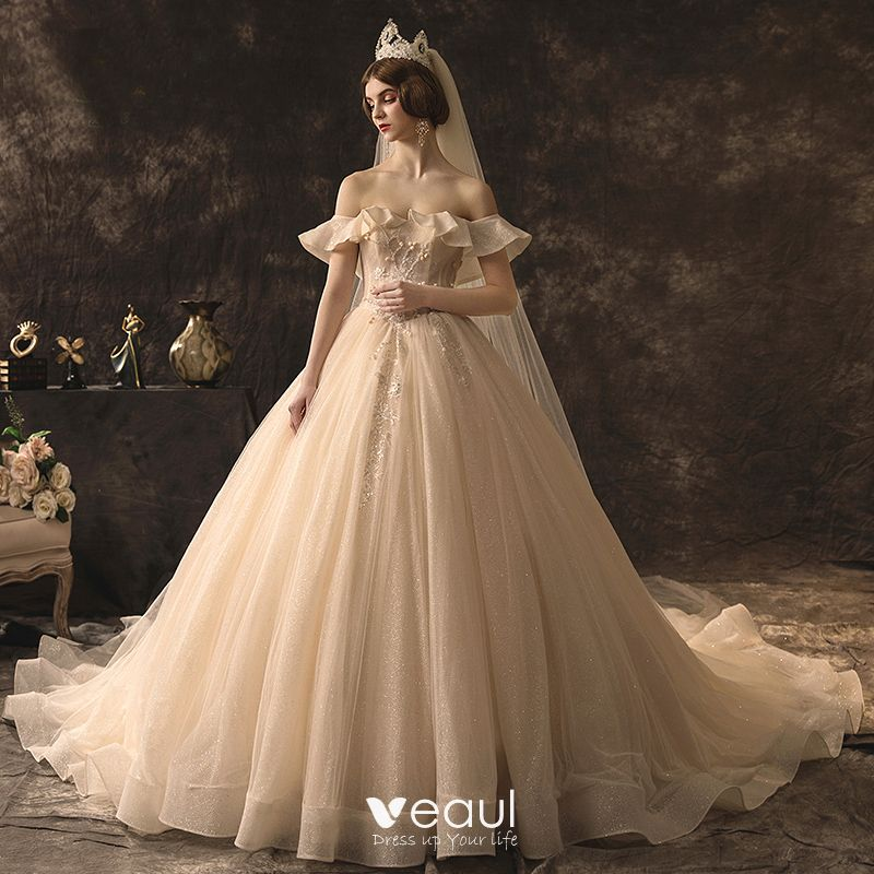 High-end Champagne Wedding Dresses 2019 A-Line / Princess