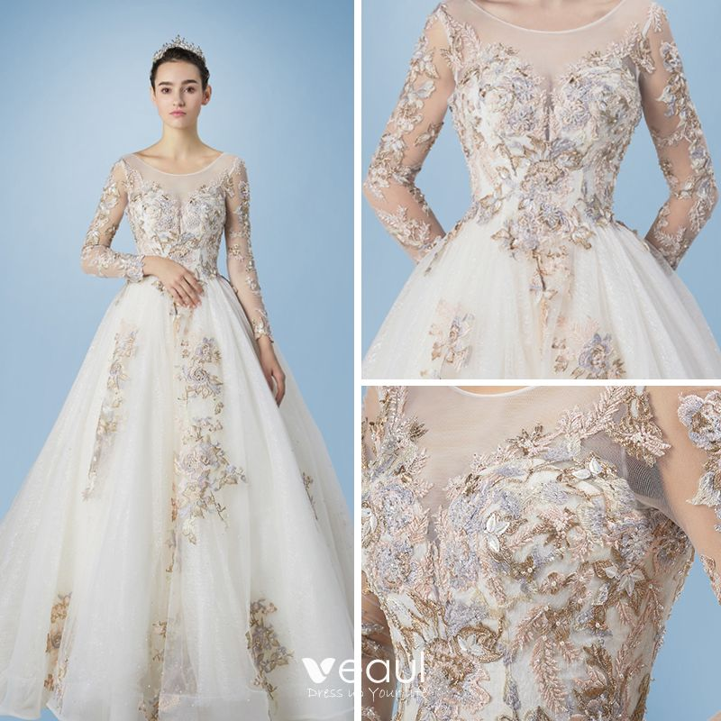 Romantic champagne see through wedding dresses 2019 a line A line wedding dress 2019
