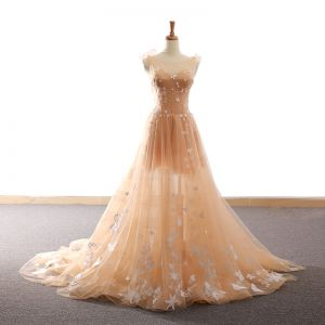 Chic / Beautiful Champagne Evening Dresses  2018 A-Line / Princess Star Butterfly Scoop Neck Backless Sleeveless Court Train Formal Dresses