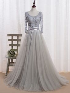 Evening Dress 2016 Glamorous Scoop Neckline Beaded Sequins Grey Tulle Long Evening Dress With Bow Sash