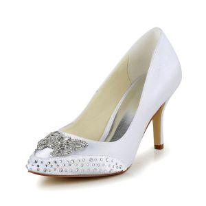 Piękne Białe Buty Ślubne Szpilki Czółenka Z Rhinestone Motyl