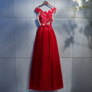 Chic / Beautiful Burgundy Prom Dresses 2018 A-Line / Princess Lace Appliques Crystal Rhinestone Sequins Bow Scoop Neck Backless Sleeveless Ankle Length Formal Dresses