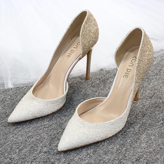 Charmant Farbverlauf Gold Abend Damenschuhe 2020 Glanz Pailletten 10 cm Stilettos Spitzschuh High Heels