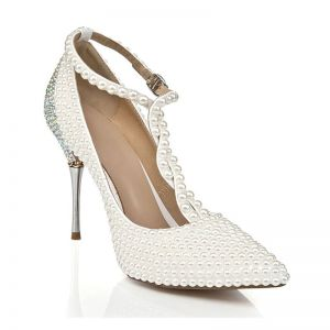 Charming Ivory Pearl Wedding Shoes 2020 Leather Rhinestone T-Strap 10 cm Stiletto Heels Pointed Toe Pumps