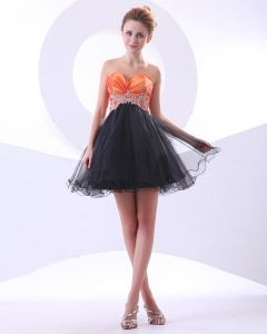 Ruffle Applique Tulle Sweetheart Thigh Length Graduation Prom Dresses