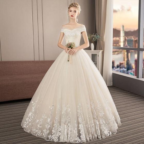 Audrey Hepburn Style Vintage / Retro Champagne Wedding Dresses 2019 A,Line  / Princess Off,The,Shoulder Short Sleeve Backless Appliques Lace Beading