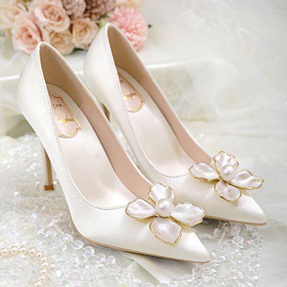 Élégant Ivoire Perle Fleur Chaussure De Mariée 2020 Satin 10 cm Talons Aiguilles À Bout Pointu Mariage Escarpins