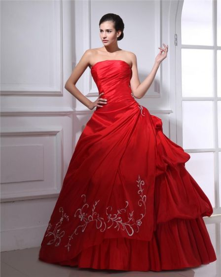 Ball Gown Satin Embroidery Ruffle Strapless Floor Length Quinceanera Prom Dress