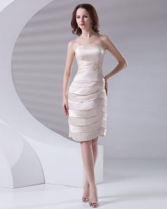 Bretelles Longueur Au Genou Applique Plisses Femmes De Satin Peu Robe De Fete