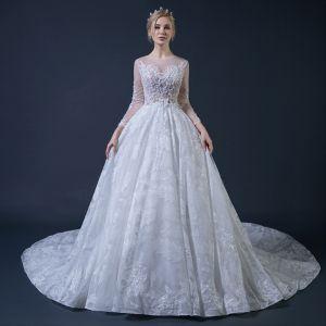 Illusion Weiß Durchsichtige Brautkleider 2018 Ballkleid Rundhalsausschnitt Lange Ärmel Glanz Tülle Applikationen Mit Spitze Rüschen Kathedrale Schleppe