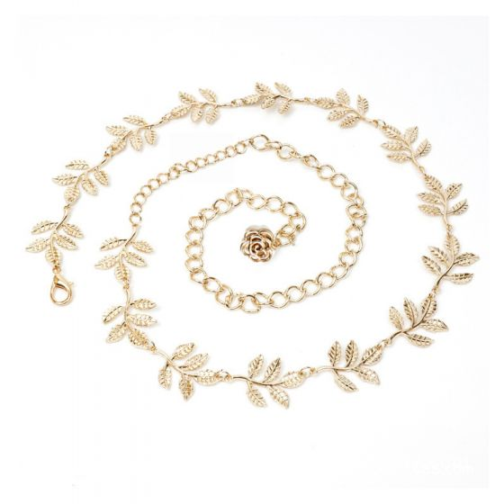 Chic / Beautiful Silver Evening Party Belt 2020 Metal Leaf Flower Homecoming Prom Accessories