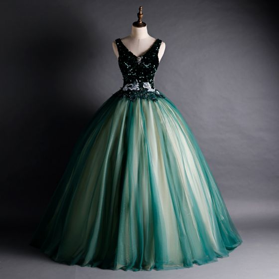 High-end Dark Green Dancing Prom Dresses 2021 Ball Gown V-Neck Sleeveless Appliques Lace Beading Floor-Length / Long Ruffle Backless Formal Dresses