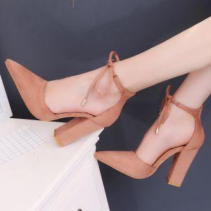 Abordable Nues Désinvolte Chaussures Femmes 2020 Daim Bride Cheville 10 cm Talons Épais À Bout Pointu Talons