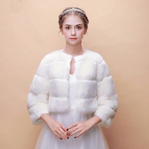 White Winter Scoop Neck 3/4 Sleeve Faux Fur Wedding Prom Striped 2017