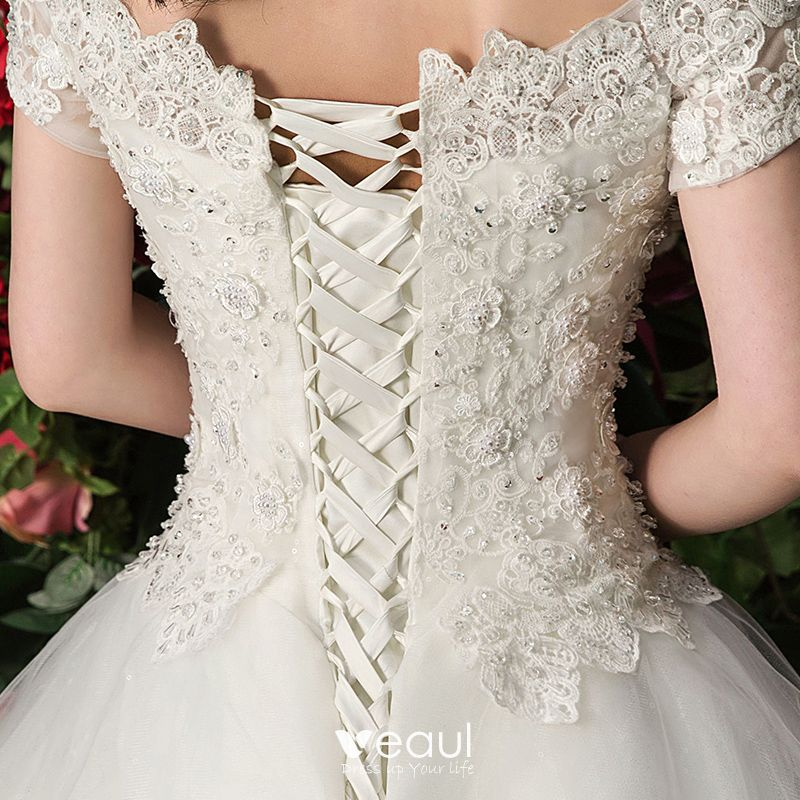 Elegant White Wedding Dresses Off-The-Shoulder 2017 Ball Gown Lace Flower Beading Pearl Short Sleeve Royal Train
