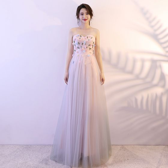 Chic / Beautiful Candy Pink Prom Dresses 2018 A-Line / Princess Appliques Beading Crystal Sweetheart Backless Sleeveless Floor-Length / Long Formal Dresses