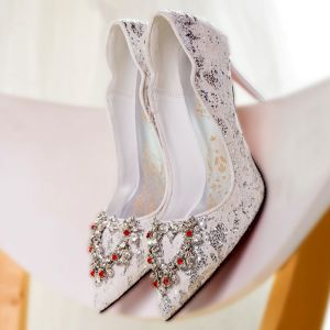 Chic / Beautiful White Wedding Shoes 2018 Lace Metal Sequins Rhinestone Leather Pointed Toe High Heels