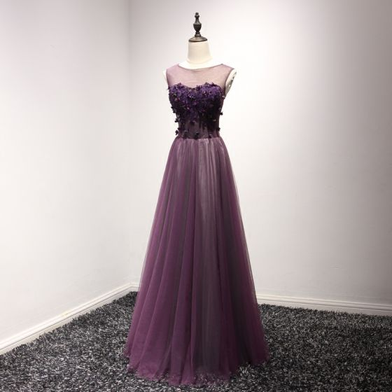 Chic / Beautiful Formal Dresses 2017 Evening Dresses  Grape A-Line / Princess Floor-Length / Long Scoop Neck Sleeveless Backless Lace Appliques Beading Pearl