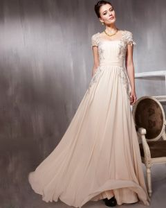 Tulle Chiffon Charmeuse Beading Applique Square Neck Floor Length Evening Dresses