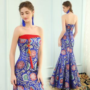 Chinese style Royal Blue Evening Dresses  2019 Trumpet / Mermaid Strapless Tassel Crystal Embroidered Sleeveless Backless Floor-Length / Long Formal Dresses