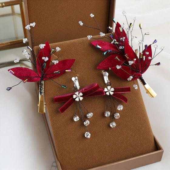 Piękne Burgund Welur Ozdoby Do Włosów Ślubne 2020 Frezowanie Kryształ Ozdoby Do Włosów Kolczyki Biżuteria Ślubna