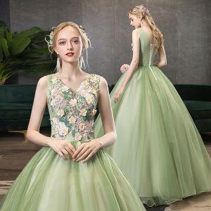 Elegante Lindgrün Ballkleider 2020 A Linie V-Ausschnitt Perle Spitze Blumen Ärmellos Rückenfreies Lange Festliche Kleider