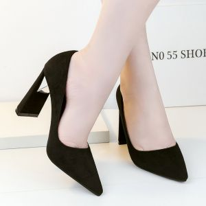 Chic / Beautiful Black Casual Pumps 2019 Suede 10 cm Stiletto Heels Pointed Toe Pumps