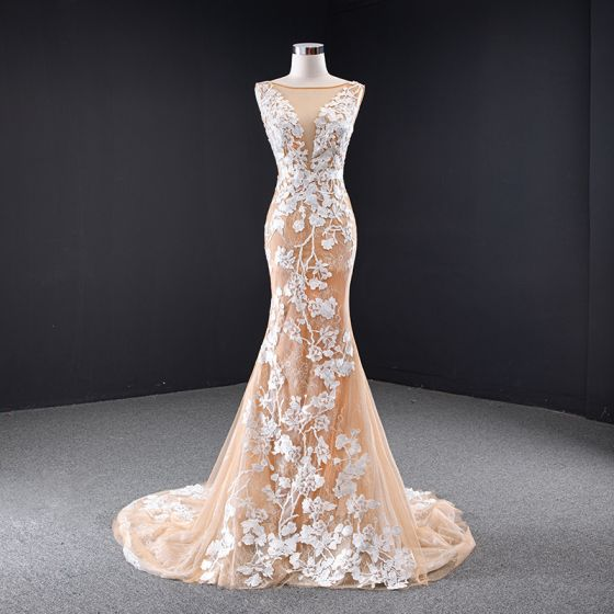 High-end Champagne Wedding Dresses 2020 Trumpet / Mermaid Scoop Neck Lace Flower Sleeveless Backless Court Train