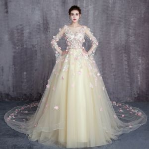 Flower Fairy Yellow Prom Dresses 2017 A-Line / Princess Scoop Neck Long Sleeve Appliques Flower Ruffle Tulle Royal Train Formal Dresses