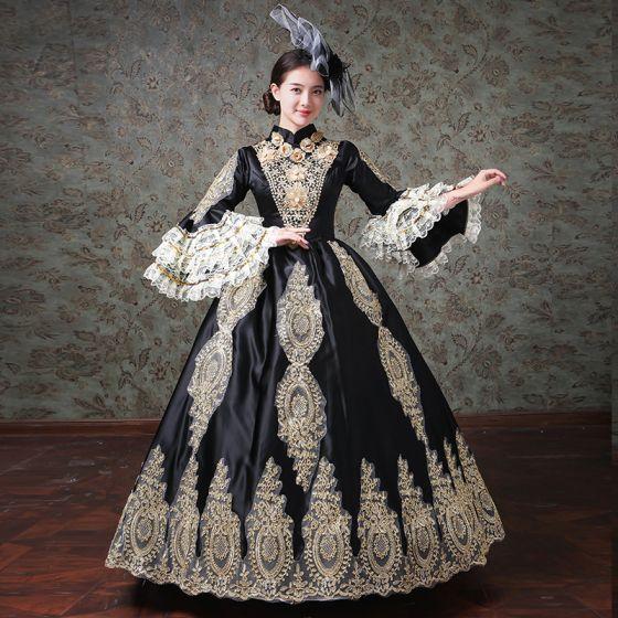 Vintage Średniowieczny Czarne Suknia Balowa Sukienki Na Bal 2021 Wysokiej Szyi Długie Rękawy Zamek Błyskawiczny Się Długie Koronki 3D Haftowane Kwiat Aplikacje Cosplay Bal Sukienki Wizytowe