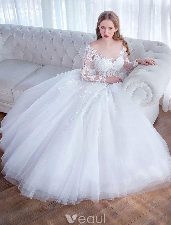 Glamourösen Hochzeitskleider 2017 Quadratischen Ausschnitt Applique Schnürsenkel Weiß Tüll Brautkleider