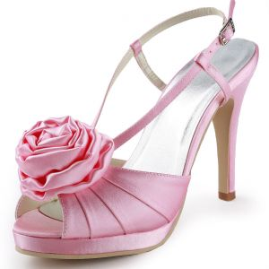 Noble Fashion Waterproof High With Satin Flower Wedding Shoes Party Shoes