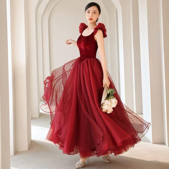 Hermoso Borgoña Suede Manchado Vestidos de gala 2021 A-Line / Princess Escote Cuadrado Sin Mangas Sin Espalda Largos Gala Vestidos Formales