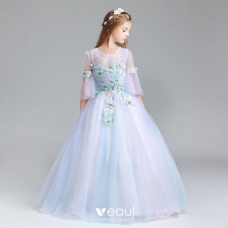 Piękne Błękitne Sukienki Dla Dziewczynek 2017 Suknia Balowa Wycięciem 34 Rękawy Aplikacje Motyl Długie Wzburzyć Przebili Sukienki Na Wesele