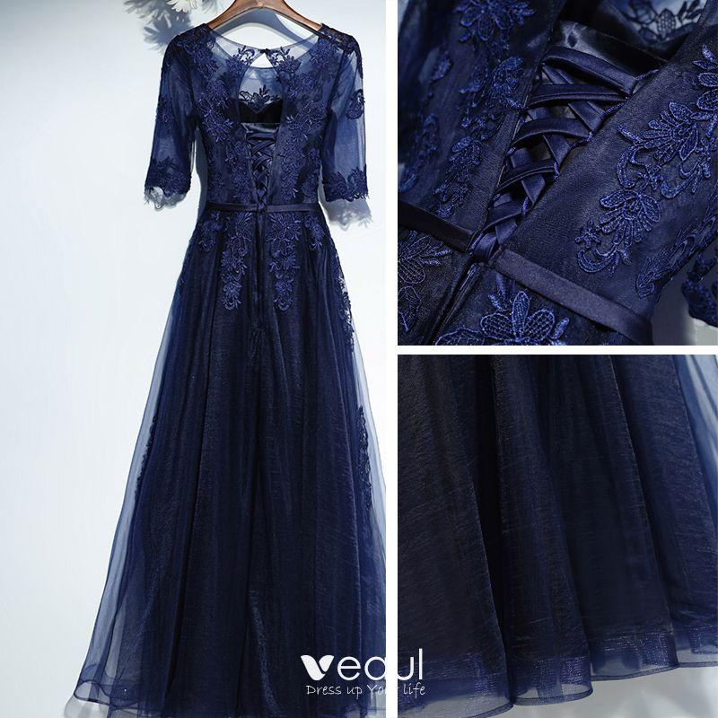 Elegant Navy Blue Formal Dresses Prom Dresses 2017 Lace Flower Bow Scoop Neck Floor-Length / Long 1/2 Sleeves A-Line / Princess
