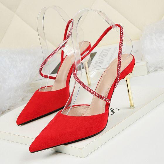 Sencillos Rojo Fiesta Noche Zapatos De Mujer 2019 Suede Rhinestone 9 cm Stilettos / Tacones De Aguja Punta Estrecha High Heels