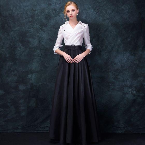 Unieke Vintage Zwarte Witte Avondjurken 2018 Imperium V-Hals 3/4 Mouwen Lange Ruche Gelegenheid Jurken