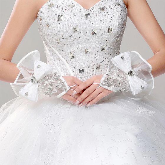 Satin Blanc Avec De La Dentelle Fingerless Gants De Mariée