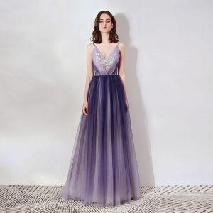 Elegant Purple Evening Dresses  2019 A-Line / Princess Spaghetti Straps Deep V-Neck Sleeveless Appliques Lace Rhinestone Beading Sash Floor-Length / Long Ruffle Backless Formal Dresses