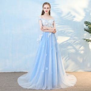 Elegant Sky Blue Evening Dresses  2018 A-Line / Princess Appliques Pearl Rhinestone Off-The-Shoulder With Shawl Backless Short Sleeve Court Train Formal Dresses