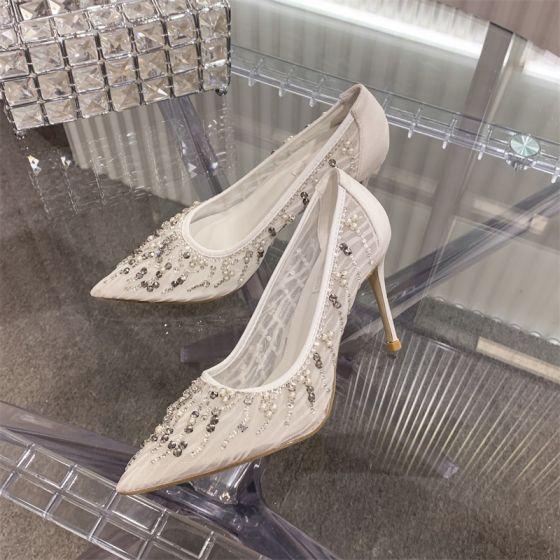 Charmant Witte Kant Bruidsschoenen 2020 Parel Rhinestone 10 cm Naaldhakken / Stiletto Spitse Neus Huwelijk Pumps