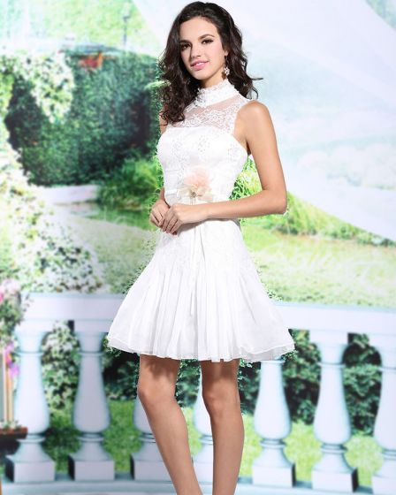 2015 White Lace High Neck Short Cocktail Dress