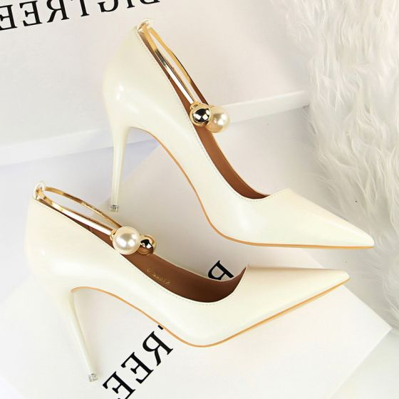 Modern / Fashion Ivory Casual Pumps 2019 Pearl 9 cm Stiletto Heels Pointed Toe Pumps