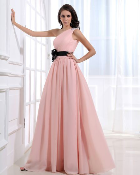 Sloping Neckline Floor Length Beading Flower Empire Pleated Chiffon Woman Evening Party Dress