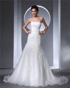 Strapless Beading Pleated Floor Length Satin Tulle Woman A Line Wedding Dress