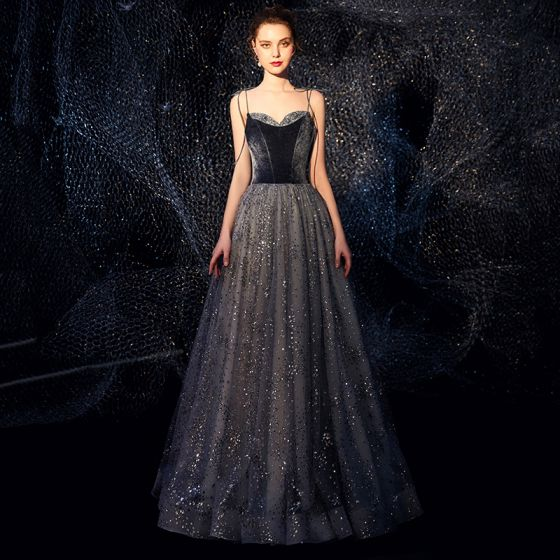 Starry Sky Navy Blue Suede Evening Dresses  2019 A-Line / Princess Spaghetti Straps Sleeveless Glitter Tulle Floor-Length / Long Ruffle Backless Formal Dresses