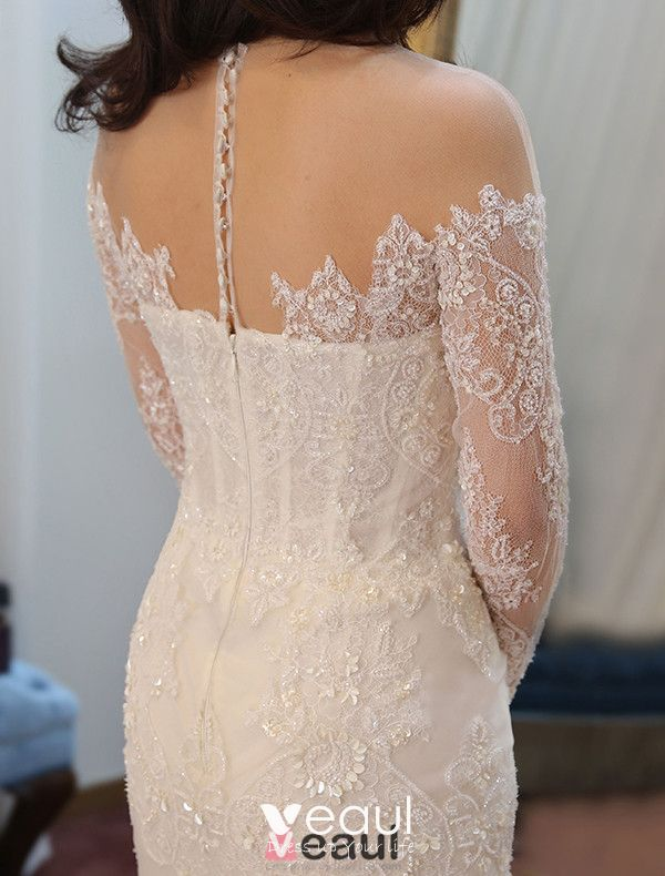 2015 Slim Thin Lace Retro Bridal Half Sleeve Trailing Wedding Dress