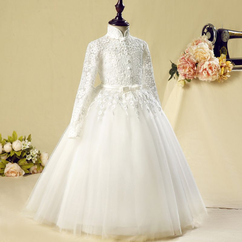 Chinese style Church Wedding Party Dresses 2017 Flower Girl Dresses White Floor-Length / Long Ball Gown High Neck Long Sleeve Flower Appliques Bow Sash