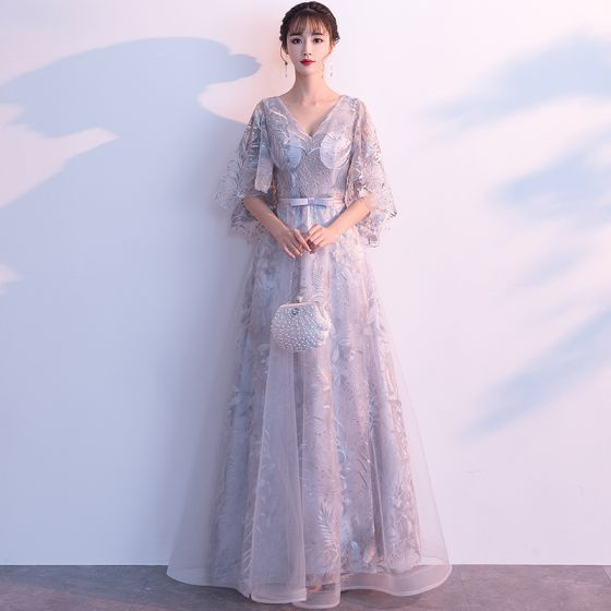 Chic / Beautiful Grey Evening Dresses  2019 A-Line / Princess V-Neck Bow Lace Flower 1/2 Sleeves Backless Floor-Length / Long Formal Dresses